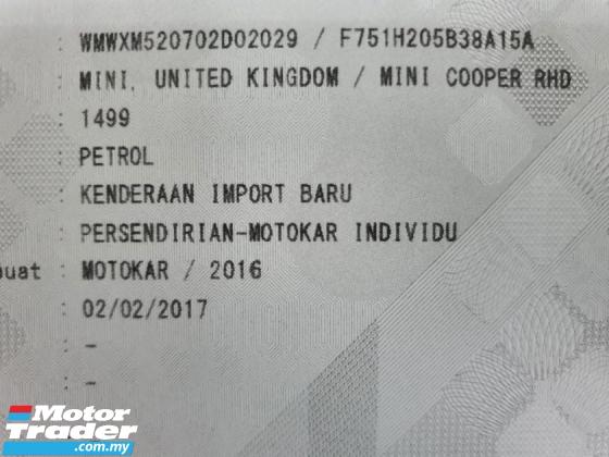 2016 MINI 3 DOOR 1.5 (A) CBU Mil Done 46k *Under warranty*