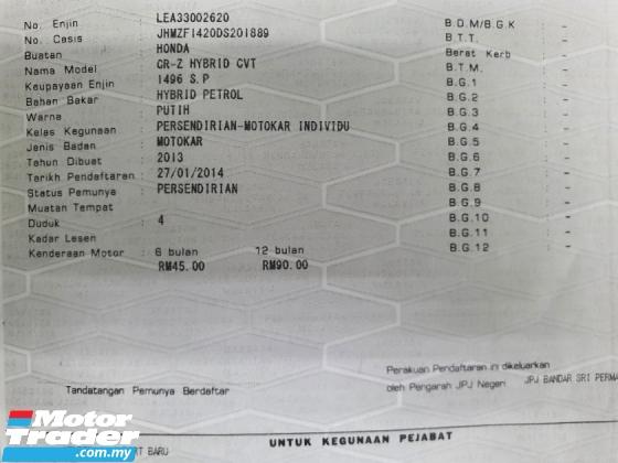 2013 HONDA CR-Z 1.5 (A) HYBRID Sport+ *1 Owner* Reg 2014