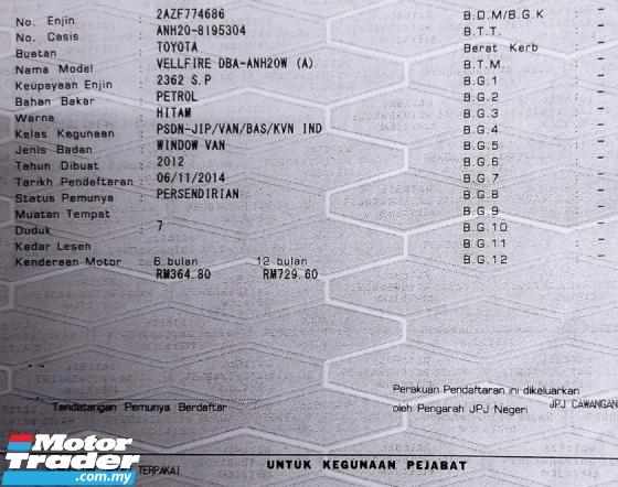 2012 TOYOTA VELLFIRE 2.4 Z FACELIFT FREE 2 Yrs WARRANTY