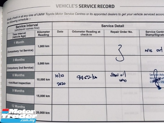 2020 TOYOTA RUSH S 1.5L (A) FULL SERVICES RECORD