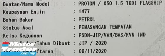2020 PROTON X50 1.5 TGDi FLAGSHIP  (A) Mileage 5K KM Only
