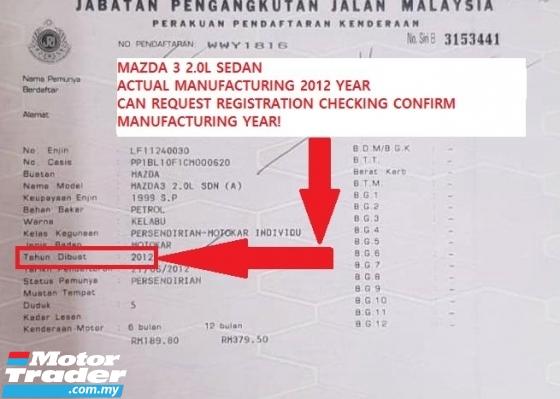 2012 MAZDA 3 2.0 SEDAN FULL SPEC, LEATHER SEAT,DVD, BI-XENON