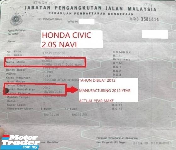 2012 HONDA CIVIC 2.0 S NAVI FULL MODULO BODYKIT ELEC LEATHER SEAT