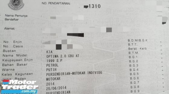 2014 KIA OPTIMA K5 2.0 (A) Facelift Full Service Record