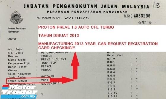 2013 PROTON PREVE CFE TURBO 1.6 AUTO PADDLESHIFT GEAR , PUSH START.