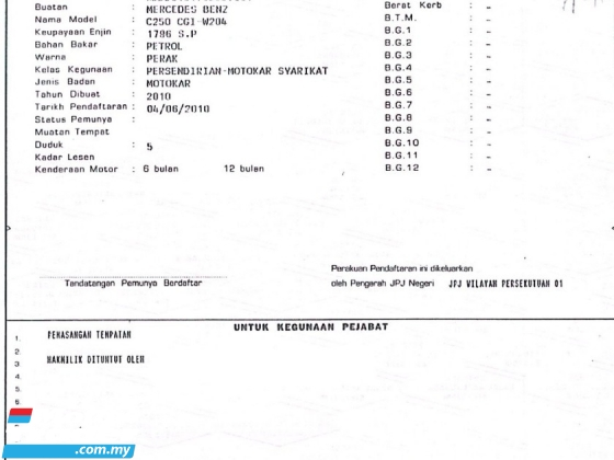 2010 MERCEDES-BENZ C-CLASS C250 BLUE EFFICIENCY AVANTGARDE W204 (1 Owner)