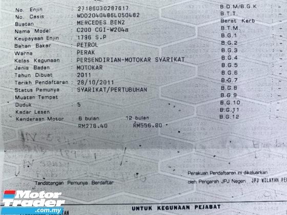 2011 MERCEDES-BENZ C-CLASS C200 BLUE EFFICIENCY AVANTGARDE CKD BRABUS
